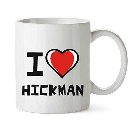 Idakoos I love Hickman - Taza de corazón bicolor (12 onzas)