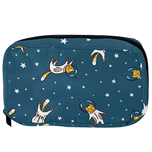 TIZORAX Cosmetic Bags Funny Cat Astronaut In Space Handy Toiletry Travel Bag Organizer Makeup Pouch for Women Girls