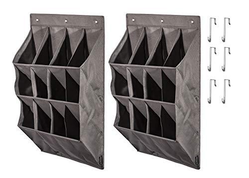 STORAGE MANIAC 12-Pocket Over The Door Hanging Organizer, Large Pocket Hanging Shelf, Grey, 2-Pack