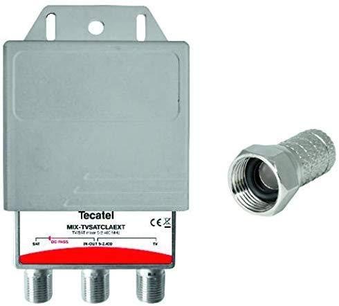 Mezclador DIPLEXOR TV Sat TECATEL para Exterior + 3 Conectores F