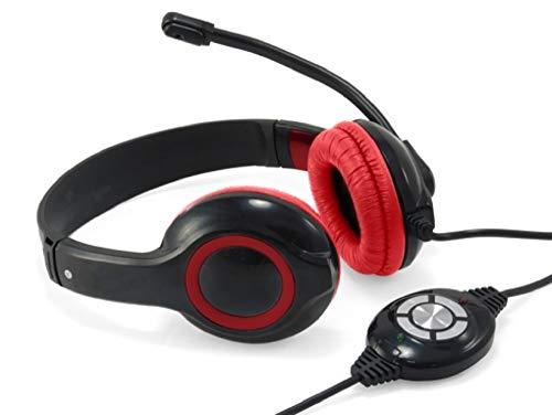 Conceptronic CCHATSTARU2R Binaural Diadema Rojo - Auriculares con micrófono (Centro de Llamadas Oficina, Binaural, Diadema, Rojo, Digital, Alámbrico)
