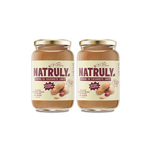 Natruly Crema de Cacahuete Súper Smooth, 100% Cacahuete Sin Azúcar, Vegana, Sin Gluten, Sin Lactosa - Pack 2x500gr (Edición Limitada de Navidad)