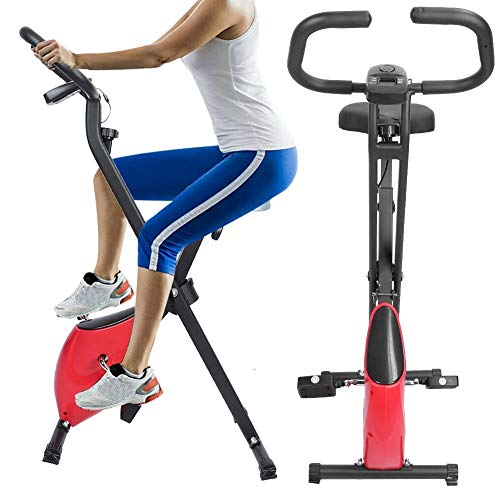 Review Folding Exercise Bike, Folding Adjustable Exercise Bike Muscle Training Fitness Household Bic...