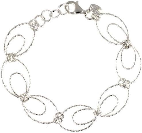 Mail order Sterling Silver Wire It is very popular Oval Hoop Diamond Cut 7.5 Wh Bracelet in. w