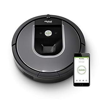 Foto di iRobot Roomba 960 Robot Aspirapolvere, Sistema di Pulizia Dirt Detect, Spazzole Tangle-Free, per Pavimenti e Tappeti, Ottimo per i Peli degli Animali, Wi-Fi, 70 dB, autonomia: 75 min, Argento