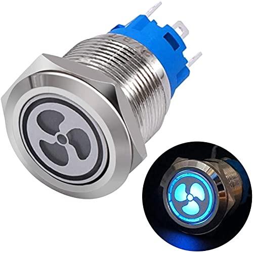 CGSA 12V 19 mm Azul DIRIGIÓ Cambiar 1NO 1NC 3/4' Interruptor de Enclavamiento de Acero Inoxidable de Acero Inoxidable de Plata de Acero Inoxidable de Plata (Size : Fan)