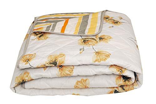 Nimsay Home Gesteppte Tagesdecke, 100 prozent Baumwolle, florales Mohnblumen-Motiv, wendbar, 265 x 265 cm, Weiß/Ocker/Grau