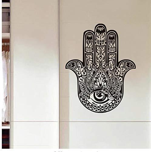 Mano De Fátima Hamsa Pegatina De Pared Buda Indio Decoración Del Hogar Vinilo Arte Mural Para Sala De Estar 74Cm X 59Cm