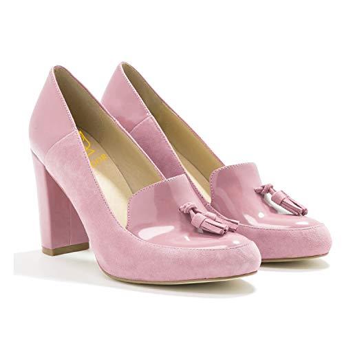 LEHOOR Frauen Chunky Block High Heel Fransen Pumps Runde Zehen Slip On Kleid Loafer mit Quaste Wildleder Lack Leder Patchwork für Damen Mädchen Büro 4-13 M US, Pink (rose), 39 EU