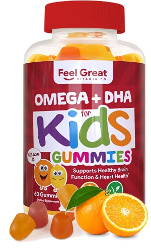 Feel Great Vitamin Co. Complete DHA Gummies for Kids | with Omega 3 6 9 + DHA, Vitamin C | Supports Healthy Brain Function, Vision & Heart Health | Gluten Free, Vegetarian & Non-GMO | 60 Gummies