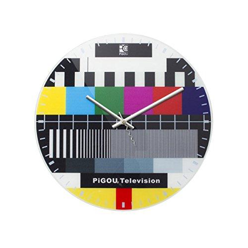 GOODS+GADGETS Retro Testbild Wanduhr TV Uhr mit Fernseher Störbild 30cm