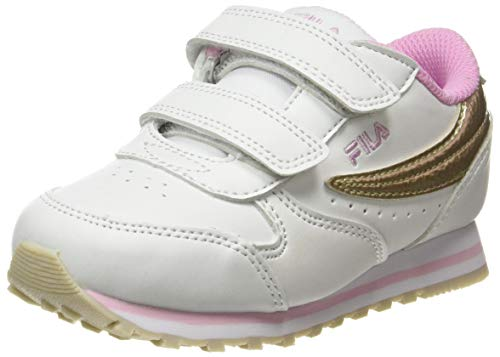 FILA Orbit infants Sneaker, White/Gold, 24 EU