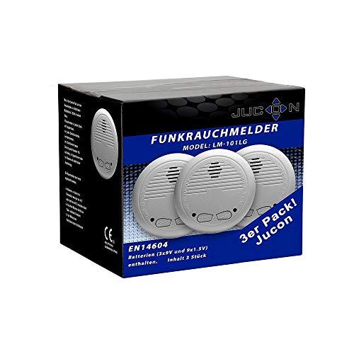 3er-Set Funkrauchmelder Jucon, Feuermelder, geprüft nach EN 14604