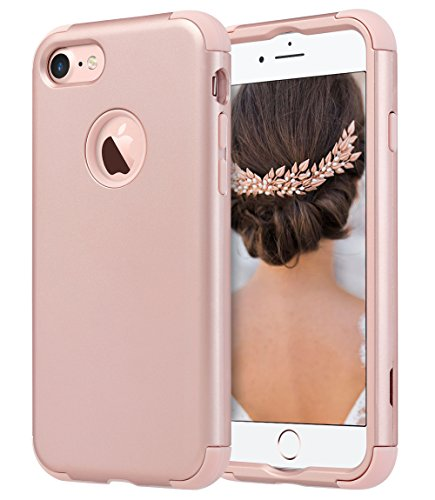 ULAK Custodia iPhone 7, iPhone 7 Cover Ibrida a 3 Strati in Silicone a Shell Super Protettiva Prova di collisione Case Cover per Apple iPhone 7 (4,7 Pollici) - (Oro Rosa)