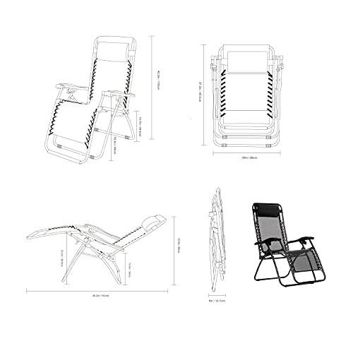 Amazon Basics Outdoor Textilene Adjustable Zero Gravity Folding Reclining Lounge Chair with Pillow, Black