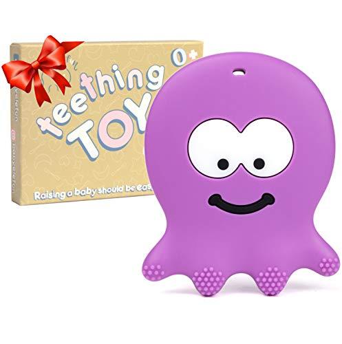 Beißring für Babys – entzückende violette Oktopus – Beißring für Mädchen oder Jungen Säuglinge Neugeborene 3/6/12 Monate / 1 Jahr alt – BPA-freies Silikon – cool