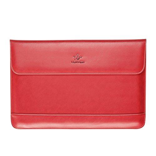lention aus Spaltleder für MacBook Air 11/MacBook 12/Surface Pro/Samsung/HP/Asus/Acer, Premium Tragetasche mit Magnetverschluss für 11-12 Zoll Laptops & Tablets (Rot)