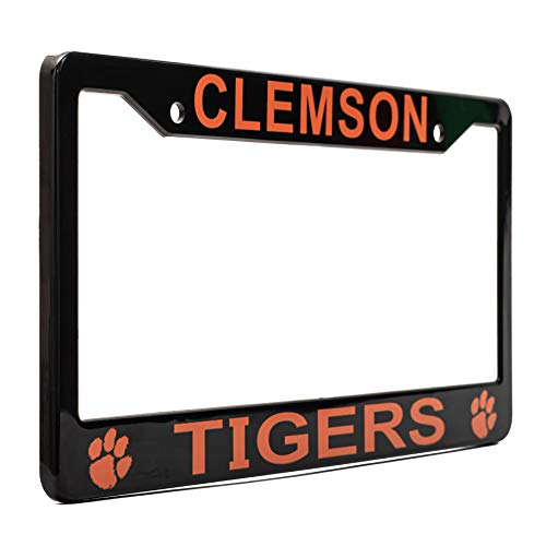 "EliteAuto3K Clemson Tigers License Plate Frame Cover – Black – 12.25"" x 6.25"" - NCAA Car Accessory - Ideal Gift for Sports Fans & Supporters – Slim Design"