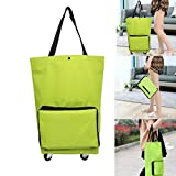 MYUANGO Supermarket Folding Shopping Bag with Wheels Reusable Portable Hand-pulling Utility Collapsible Grocery Bag With Hand-straps Folding Shopping Cart