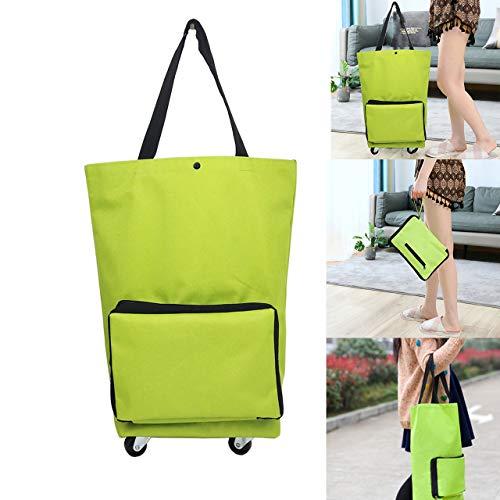 MYUANGO Supermarket Folding Shopping Bag with Wheels Reusable Portable Hand-pulling Utility...