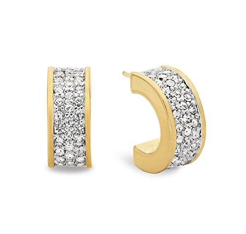 Noelani Damen-Creolen Halbcreolen gelbvergoldet veredelt mit Swarovski Kristallen 14 mm