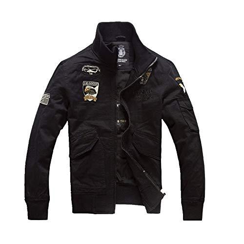 NOBRAND - Chaqueta para hombre (talla grande, uniforme militar) Negro Negro ( XL