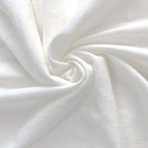 ZAIONE - Tela de franela 100% algodón blanco por metro cálido para invierno, 150 cm de ancho para ropa suave y cómoda, material de ropa, manualidades, costura y dejar de fumar.