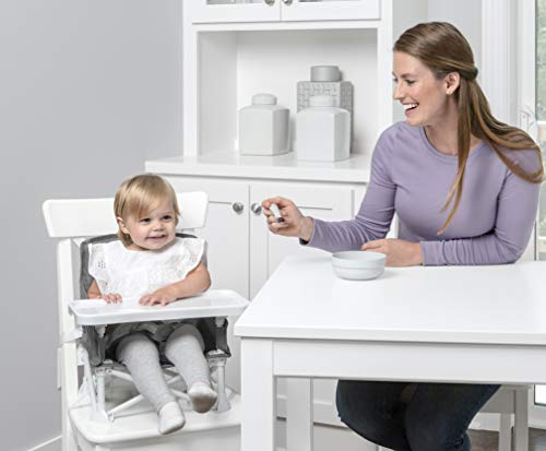 Regalo My Chair 2-in-1 Portable Travel Booster Seat & Activity Chair, Bonus Kit Includes, Oversized Removable Tray with Cup Holder, Travel Case, Grey