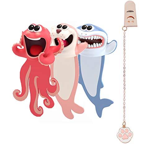 3 Stücke 3D Cartoon Tier-Lesezeichen,bookmark animal,lesezeichen kinder,lesezeichen magnetisch,3D Stereo Cartoon schön Tier Lesezeichen Geschenk für Kinder und Erwachsene (style1)