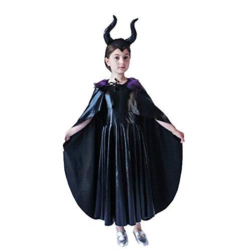 Bulex Evil Queen Costume Girls Cosplay Kids Dress Horn Cloak Outfit Halloween Party (Small)
