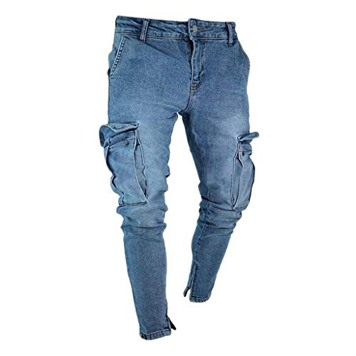 Fannyfuny Mode Herren Destroyed Jeans-Hose mit Taschen Reißverschluss Herren Slim Fit Jeans Denim Used Look Mit Destroyed-Optik Teen Jungen Party Kleidung Hellblau S-XXXXL