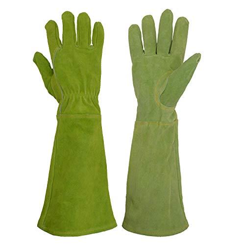 HANDLANDY Gartenhandschuhe aus Rindsleder für Damen, Lange Stülpe zu Schutz für Ihre Arme,bis der Ellenbogen,L,Grün