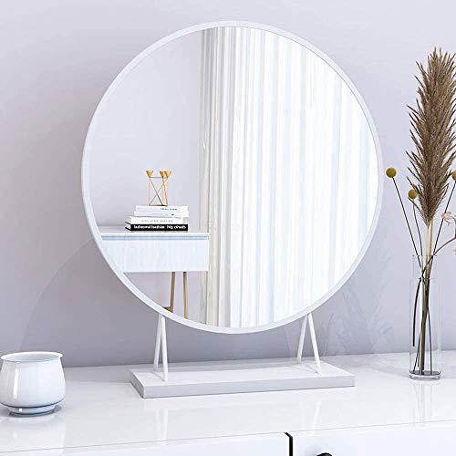 WHCQ el Espejo del Maquillaje Grande Espejo de baño de sobremesa, para Vestir Mesa Redonda de Metal Lámina de Hierro, Viajes de pie o Espejo de baño,Blanco,40cm