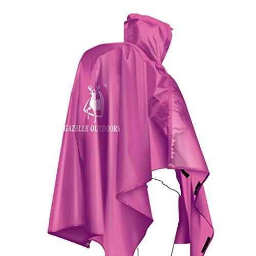 Ouneed® 230*140 cm Pro Outdoor Poncho Pluie en 210T Polyester, PU3000 rain-proof fabric (Rose vif)