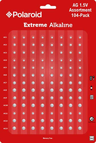 Polaroid Extreme Alkaline Assorted 1.5 Volt Round Coin Button Cell Batteries Full AG Set AG1 AG2 AG3 AG4 AG5 AG6 AG7 AG8 AG9 AG10 AG11 AG12 AG13 Bulk Variety Pack Mercury 0% Hg (104-Pack)