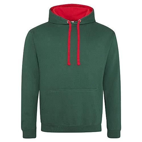 Just Hoods Just Hoods Varsity Kapuzenpullover, damen, Kapuzenpullover, JH003, Green - Bottle Green/Fire Red, (L)