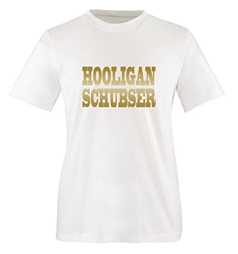 Comedy Shirts Plusieurs Coloris – Hooligan schubser Unisexe Small - Blanc/doré