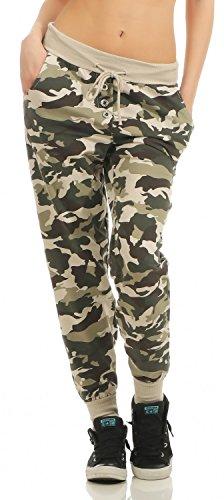 Damen Freizeithose Sporthose Sweat Pants Camouflage lang (633), Grösse:M / 38, Farbe:Beige