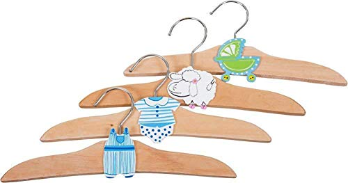 4er Set Kinder Kleiderbügel Bieco 23931189 Holz Natur 4 süße Motive