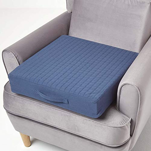 HOMESCAPES Navy Blue Quilted Armchair Booster Cushion with Removable Cover 50 cm Square 10cm Deep Firm Orthopaedic Foam Cushion Seat Pad with Soft 100% Cotton Washable Cover