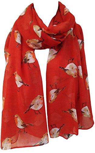 GlamLondon Sciarpa natalizia da donna con pettirosso stampato Rosso 90