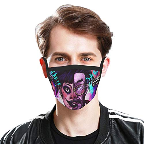 LWJKI Love Death Robots Wallpaper Masks Dust Face Cover Washable Reusable Fishing Outdoor Masks Women Men Teen Face-Mask 5 Pcs