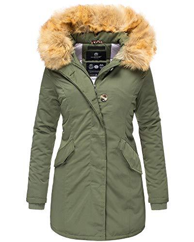 Marikoo Damen Parka Jacke Winterjacke Fellkapuze Trend Farben KRM55 (M / 38, Grün)