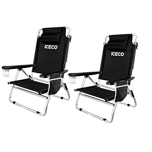 ICECO Beach Chairs 2 Pack, 5-Position Lay Dowm Folding Aluminium Camping Chair Durable Lightweight Portable with Cup Holder Storage Bag for Adults Outdoor Beach Picnic Hiking