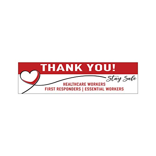 Moonlight4225 Thank You Stay Safe, Health Care, First Responders, Essential Workers, v11x 3.5x11 inch Bumper Sticker (Laminated Vinyl Decal) for Car Truck Vehicle Window