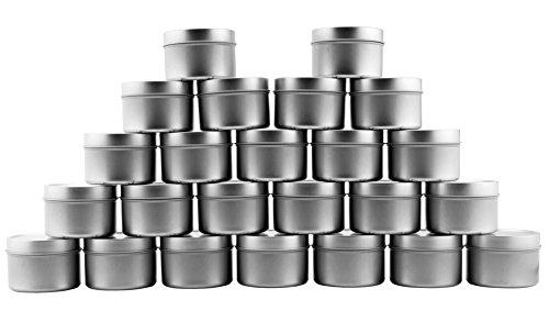 Metalldosen/Kerzendosen (24 Stück), runde Behälter mit Slip-On-Deckel für Gastgeschenke, Kerzenherstellung, Gewürze, Geschenke