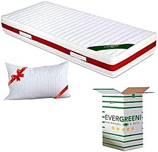 Evergreenweb - Colchón ortopédico Fashion de espuma de poliuretano o viscoelástica, 20 cm de alto, con almohadas, efecto masaje, tejido transpirable antiácaros, ideal para somier y cama