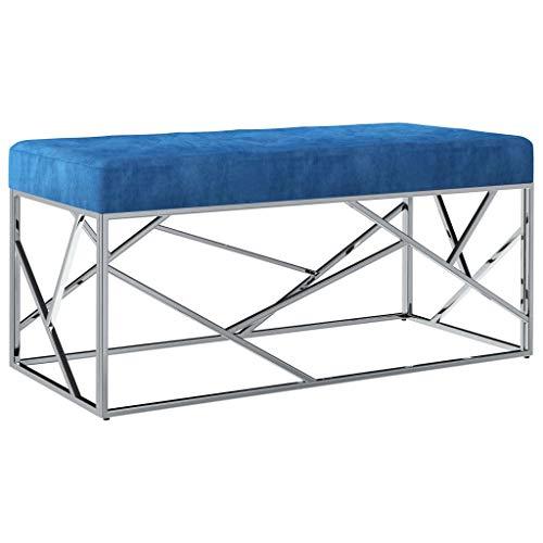 vidaXL Banco de Acero Inoxidable y Terciopelo Azul 97cm Mobiliario Recibidor Almacenamiento Organizador Tapizado Terciopelo Diseño Moderno Elegante