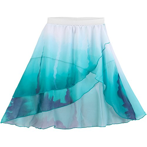 Alexandra Collection Women's Flowing Layered Watercolor Lyrical Dance Costume Skirt Teal