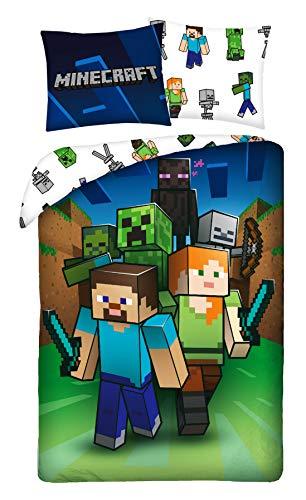 Minecraft - Juego de Cama (algodón, Funda nórdica de 140 x 200 cm y Funda de Almohada de 70 x 90 cm)